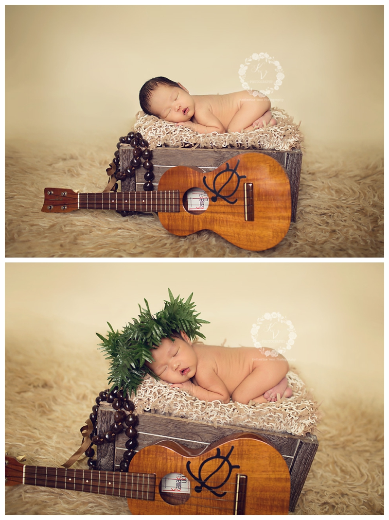 hawaiin newborn with ukulele