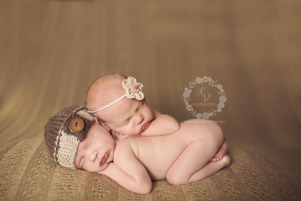 newborn twin stacked pose